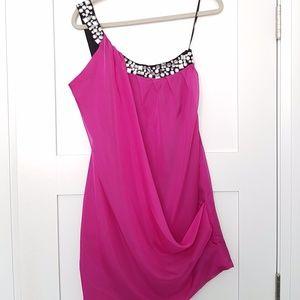 BEDO Pink One Shoulder Cocktail Dress